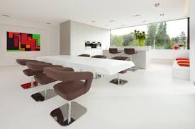 Dining Room Tables Contemporary Modern White Dining Table With Brown Chairs In Beautiful Room