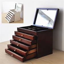 large jewellery box wooden jewelry organiser storage display case 4 5 drawers 4