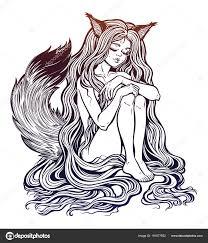кицунэ Fox как девушка с длинными волосами пушистый хвост