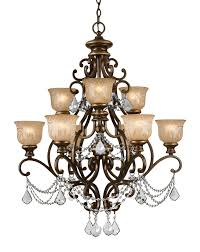 norwalk 9 light crystal chandelier in bronze umber with clear hand cut crystal and amber etched