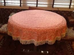 vintage preppy tablecloth pink white 60 round