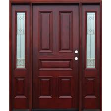 traditional 5 panel stained mahogany wood prehung front door
