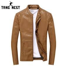 tangnest leather jacket 2018 fashion design slim men pu leather jackets popular good quality jacket men