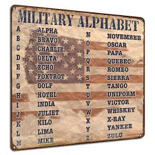 The phonetic alphabet can serve many useful purposes in communication, education and the phonetic alphabet was created to establish words for each letter of the alphabet in order to make. Military Alphabet Nato Phonetic Alphabet Patriotic Decor Metal Sign