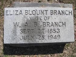 Eliza Ann Blount Branch (1853-1949) - Find A Grave Memorial
