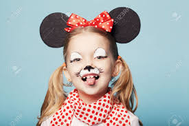 mouse face makeup little beautiful with mouse mask stock photo picture and