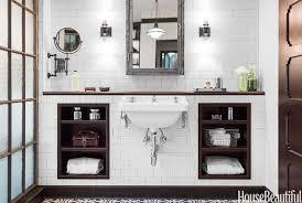 deidra doherty beautiful bathroom features ceiling subway tiled wall framing restoration hardware pharmacy wall mounted medicine cabinet brushed steel