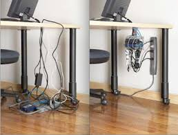 The Cable-Safe is basically a shelving system that you can neatly hang cords  and power strips from. Aesthetics aren't addressed so much with this  solution, ...