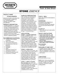 Stone Essence Concentrated Transparent Stain Technical Data