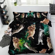 galaxy cats bedding set twin full queen king cal king size bedspreads comforter set bedclothes 3d printed duvet covers pillow shams animal canada 2019 from