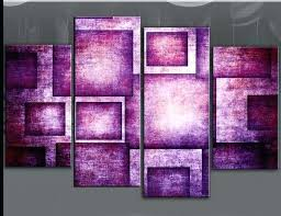 plum coloured wall art painting artwork square bold purple geometric rectangles abstract four panel purple wall plum coloured wall art