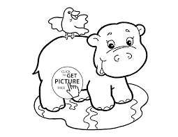 Baby Hippo Coloring Page For Kids Baby Animal Coloring Pages