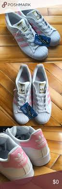 White And Light Pink Superstars Adidas Superstar Sneakers Pink White Gold 6 Nwt