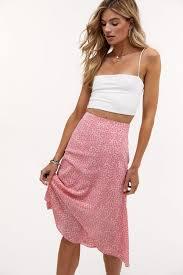 Loavies <b>pink floral print</b> midi skirt | Loavies