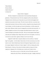 in the epic of gilgamesh gilgamesh was the most important role  6 pages epic of gilgamesh essay