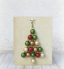 holiday wall art diy tree made with ornaments