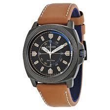 citizen cto eco drive black dial khaki leather strap men s watch bj6475 00e