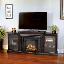 image of black entertainment center with electric fireplace