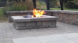 patio with square fire pit. Concrete Patio With Square Fire Pit Photo - 6