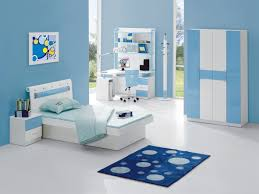 Small Bedroom Child Small Bedroom With Wooden Furniture Set And Soft Blue For Boys
