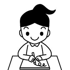 絵を画用紙に描く児童のイラスト 無料イラスト素材素材ラボ