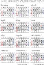 Calendar 2020 Philipines Free Printable Pdf