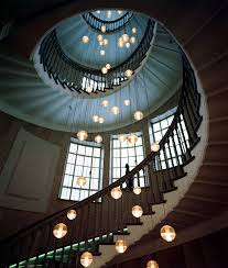 Long Drop Stairwell Pendant Lights Bocci Led Long Drop Fitting With 36 Glass Frosted Lights
