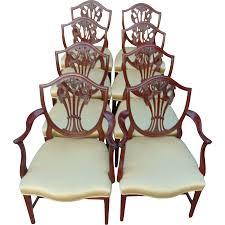 hepplewhite shield dining chairs set: set of  hepplewhite style mahogany shield back dining chairs