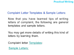 Letters Of Complaint Ii Practical Writing Letters Of Complaint Ppt Video