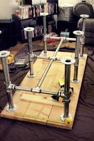 diy pallet iron pipe. Iron Pipe Table Legs With 2x10\ Diy Pallet \