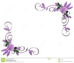 Purple Roses Corner Border Designs Wedding Invitation Border Bg