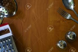 Some Kitchen Appliances On Wood Background With Space For Text