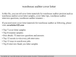 Auditor Job Description Resumes Warehouse Auditor Cover Letter
