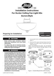 hunter ceiling fan light kits user s