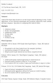Android Developer Resume 5 Templates Techtrontechnologies Com