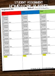 Student Assignment Homework Planner Printable Kleinworth Co