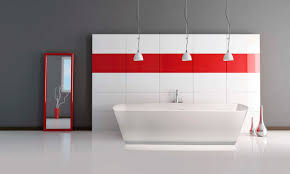 Charming Triple Industrial Pendant Lights Over Freestanding Tub As Well As  Red Stripes Wall Decal As Decorate In Grey And Red Bathroom Decorating Ideas