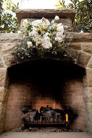 fireplace wedding ceremony backdrop