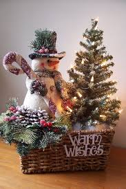 group items in a basket a fir tree a snowman and pinecones