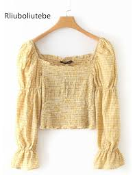 Light Yellow Crop Top Us 12 75 29 Off Plaid Crop Top Blouse Women Long Butterfly Sleeves Square Collar Casual Vintage Retro Top Shirt Spring Summer Yellow Blouse In