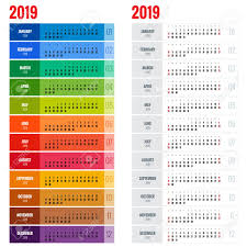 Yearly Calendar Planner Template Yearly Wall Calendar Planner Template For 2019 Year Royalty Free