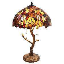 maple tree stained glass table lamp