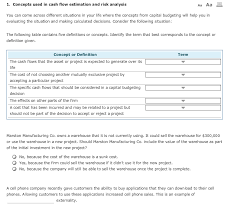 Solved 1 Concepts Used In Cash Flow Estimation And Risk
