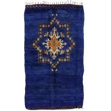 vintage berber moroccan rug in cobalt blue with modern tribal design for