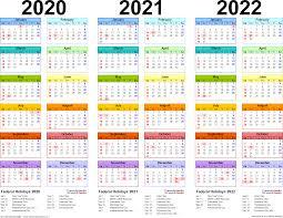 2020 2022 Three Year Calendar Free Printable Pdf Templates