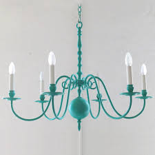 image 1 six flame chandelier made of brass lacquered turquoise please inquire