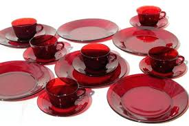 glass dish set vintage ruby red dishes dinnerware for 6 dinner plates cups saucers clear sets vintage glass plates