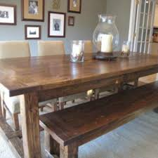 Diy Farmhouse Table And Bench Kitchen Rustic Farmhouse Table Plans