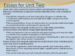 unit two lesson twelve how did the delegates distribute powers  essays for unit two how did the constitution limit government power to protect individual rights while