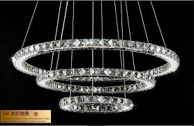 90w 80 60 40cm diamond ring re led crystal chandelier light modern pendant lamp 3 circles for restaurant dining room decorative pendant lighting